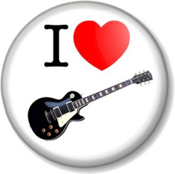 I Love / Heart GUITAR Pinback Button Badge Musical Instrument Gibson Les Paul Black